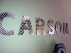 4 Letter Diamond Plate Wall Letter Name by CarBoatLane on Etsy Car Themed Bedrooms, Car Bedroom, Bedroom Themes, Kids Bedroom, Baby Boy Rooms, Baby Boy Nurseries, Motocross Bedroom, Race Car Room, Plates On Wall