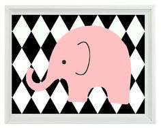 Elephant+Nursery+Wall+Art+Print++Black+White+by+RizzleandRugee,+$22.00