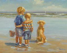 Chicos de oro 3, dos muchachos, hermanos original acrílico pintura golden retriever, 12 x 18 en escena de la playa de masonite, Lucelle Raad arte