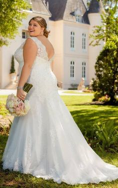 bd4e7fbd2c63 6525+ Lace Fit and Flare Plus Size Wedding Gown with Silver Beading by  Stella York