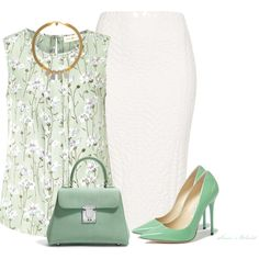 A fashion look from February 2014 featuring sleeveless shirts, white skirt and Jimmy Choo. Browse and shop related looks. Work Fashion, Fashion Outfits, Womens Fashion, Fashion Trends, Classy Outfits, Cute Outfits, Outfit Combinations, Business Outfits, Work Attire