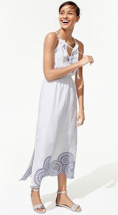 LINEN DRESS WITH EYELET DETAIL + LEATHER EYELET SANDALS WITH ANKLE STRAP | J CREW