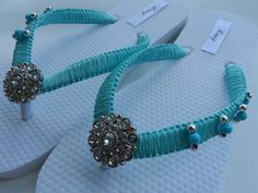 Tiffany Blue Wedding Flip Flops / Bridal pearls by RossyAccesorios, $35.00