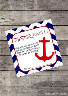 Nautical Theme Boys Baby Shower - Nautical Anchor Diaper Raffle Ticket by TheSouthernPapery on Etsy, $5.00
