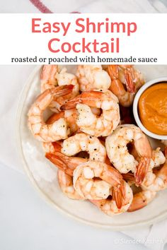 Learn how to make perfect shrimp cocktail at home with an easy cocktail sauce. Methods to poach or roast your shrimp cocktail and tons of recipe ideas. Homemade Cocktail Sauce, Homemade Sauce, Appetizer Dishes, Healthy Appetizers, Shrimp Appetizers, Low Calorie Recipes, Healthy Recipes, Whole30 Recipes, Ww Recipes