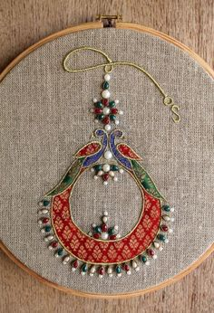Hoop art Indian Jewellery machine embroidery linen with