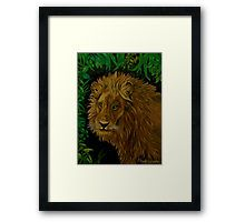 Framed print, painting, art, lion, african, portrait, animal, wildlife, jungle, savanna, safari, big cat, realism, earthly colors, brown, dark, brown, wall art, wall decor, decorative items, for sale, redbubble