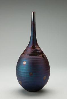 """Hideaki Miyamura, Vase, peacock glaze, porcelain, 15.5 x 6 x 6"""""""