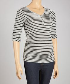 Take a look at this Gray & Black Waffle Stripe Maternity Top - Women by Oh! Mamma on #zulily today!