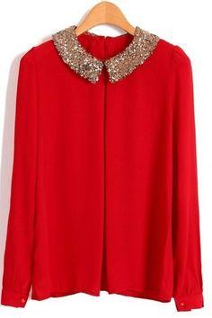 #wishlist Camisa roja con cuello tipo #peterpan en glitter . Combinala con jeans, tacones altísimos y un clutch rigido. #moda #red #whenindoubtwearred #billblass #chic #fashion #camisa #glam trouve a bellezaentuespejo.blogspot.mx