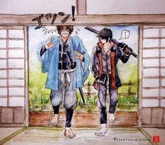 Gintama - Sakamoto and Takasugi Me Me Me Anime, Anime Guys, Action Comedy Anime, Anime Chibi, Anime Art, Gintama Funny, Gintama Wallpaper, Silver Samurai, Manga Covers