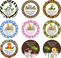 Personalized JUNGLE SAFARI brownie pops favors - baby shower birthday