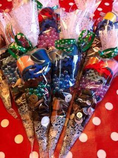 Sweetie cones - filled with vintage haberdashery.