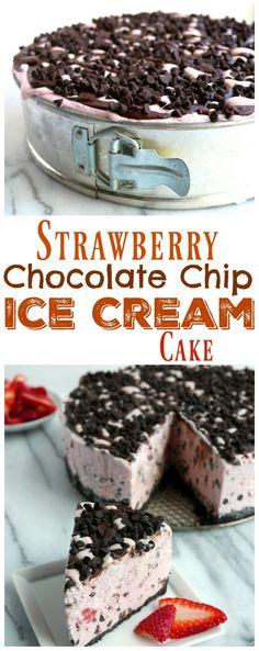 Strawberry Chocolate Chip Ice Cream Cake from NoblePig.com.