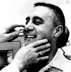 """3/21/65, Cape Kennedy: """"Gemini Command Pilot Virgil I. Grissom laughs as his nose is tickled by doctor during an intensive pre-flight medical examination."""" Gus Grissom, Medical Examination, Risky Business, Cosmos, Gemini, Pilot, Cape, Shit Happens, People"""