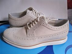 COLE HAAN LUNARGRAND FRAGMENT DESIGN US 9 RARE WHITE PEBBLE LEATHER LONGWING