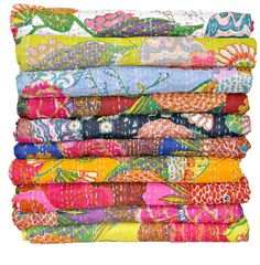 SET OF 5 kantha quilts, sari Indian quilt, kantha bedspread, Bed cover, kantha rallis hand stiched kantha bedcovers flower print bedding set