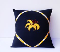 """#Embroidery #Home Decor Midnight Blue Tropical Cushion Cover Size16"""" by16"""" Handmade in Australia with Pure quilters cotton Embroidered Decorative Blue Pillow Cover - pinned by pin4etsy.com"""