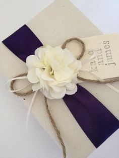 Custom Wedding Photo Album - Rustic Ivory Hydrangeas, Eggplant Purple Ribbon - Hand Stamped, Personalized, and Gift Wrapped - Free Shipping