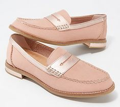 Rock these leather loafers with a stylish twist -- that doesn't go overboard. The metallic accents to this classic style upgrades any outfit. From Sperry. Pink Dress Shoes, Pink Suede Shoes, Red Wing Shoes, Dress Loafers, Loafer Shoes, Sperry Loafers, Burberry Men, Gucci Men, Mens Suede Loafers