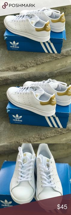 Adidas Stan Smith - Gold Worn once. Brand new. Boys size 6. I am a women's 8 and they fit great adidas Shoes Sneakers