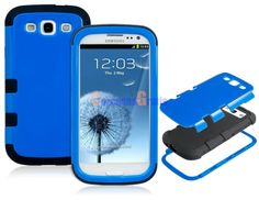 3-in-1 Glossy Plastic & Silicone Case for Samsung Galaxy S3/ I9300 (Blue & Black)