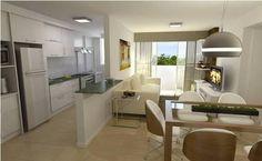 Resultado de imagem para sala de jantar conjugada com cozinha e sala de tv