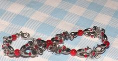 Spring Flowers in Red Glass and Silver Bracelet by TriannasTreasures