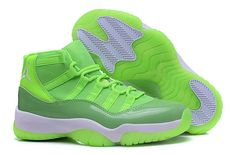 "save off 1c073 98544 Shop 2016 Air Jordan 11 GS ""Neon Green"" PE For Sale Super Deals black,  grey, blue and more."