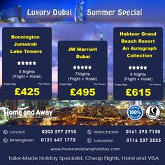 Dubai, A Sparkling city in the middle east is a Family Friendly, Honeymoon and a shoppers paradise. It also has boasts some of the luxury hotels of the world. Book your holidays to ‪#‎Dubai‬ this summer only with Home And Away Holidays, Call our ‪#‎Holiday‬ Experts now or give us a miss call.