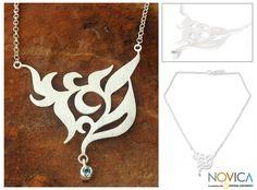 "Thai Sterling Silver & Blue Topaz Pendant Necklace, ""Blue Dew""."