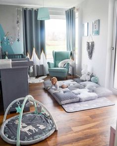 Bild könnte enthalten: table and indoor – Babyzimmer - Devil Image could contain: table and indoor - baby room - Baby Bedroom, Baby Boy Rooms, Baby Boy Nurseries, Nursery Room, Kids Bedroom, Teal Nursery, Elephant Nursery Decor, Small Nurseries, Men Bedroom