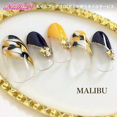ミディアム/イエロー/ネイビー/フレンチ/変形フレンチ - malibu_tobiのネイルデザイン[No.2482549]|ネイルブック Beautiful Nail Art, Gorgeous Nails, Pretty Nails, Japanese Nail Design, Japanese Nail Art, Korea Nail, Belle Nails, Posh Nails, Yellow Nail Art