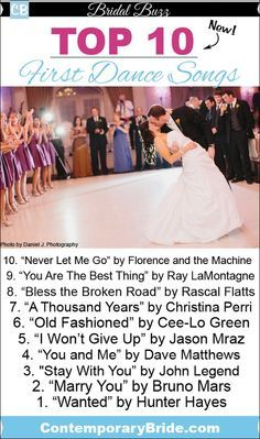 Top 10 First Dance Songs for Your Wedding - Bless the Broken Road! A Thousand Years! Wanted! Ahhh
