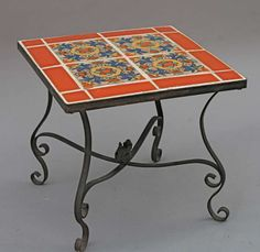 1930s Early California Tile Table with Iron Base