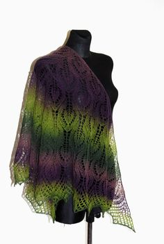 Hand Knit Lace Shawl Lace Triangle Scarf Hand by aboutCRAFTS