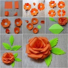 Making Construction Paper Flowers - Create a unique center for the flower. Dont skip this project. 40 Origami Flowers You Can Do Paper Flower Tutorial Paper We have easy paper flowers so. Paper Flowers Craft, How To Make Paper Flowers, Giant Paper Flowers, Paper Roses, Flower Crafts, Diy Flowers, Flower Paper, Flower Diy, Oragami Flowers Easy