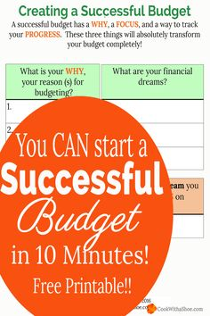 Do you want a successful budget?? Your budget will become  SUCCESSFUL when you have a reason WHY you are budgeting, when you FOCUS on one money dream, and when you track your PROGRESS!!  *Free Printable* |Cook With a Shoe