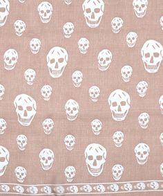 Taupe Skull Print Chiffon Scarf