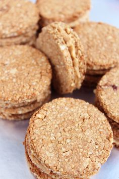 @healthyfoodcookmarket  Two peanut butter and oatmeal cookies tied by a layer of crunchy peanut butter. In total 6 cookies/sandwiches. Gluten-free, vegan, dairy free. Each bite of this treatment is a unique experience for those who love peanut butter. Minimum order 6 serves.