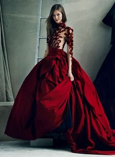 Red couture long blood red burgundy ball gown sheer lace embellished sleeves satin stunning dress   Gloss Fashionista