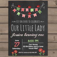 Little Ladybug Birthday Invitation Ladybug door Anietillustration