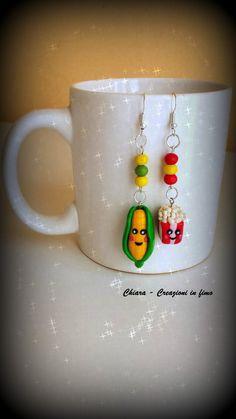 Orecchini in #fimo handmade con pop corn e pannocchia kawaii idee regalo donna , by Chiara - Creazioni in fimo, 7,00 € su misshobby.com