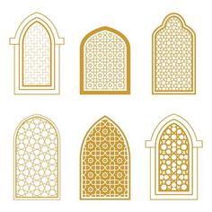 Set of ornamental islamic window. Template for design Stock Vector - 70944487 models architecture Morrocan Architecture, Mosque Architecture, Architecture Design, Islamic Art Pattern, Arabic Pattern, Pattern Art, Moroccan Interiors, Moroccan Decor, Window Design