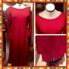 """NWT A Fabulous Holiday Dress This is a beautiful new sweater dress in a deep red/ burgundy. Take note of the detailed cable knit chest area and the decorative rib band encircling the bottom. Add a scarf or statement necklace and you are ready for any holiday setting. it measures 39"""" from neck to hem. Jones New York Dresses Long Sleeve"""