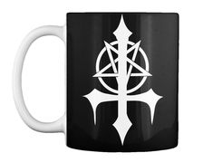 Pentagram Satanic Cross Mug. Shop the one and only In Pentagram Satanic Cross Mug and more at our Satanic Clothing and Apparel Store. Satanic Star, Satanic Cross, Cross Designs, Mug Designs, Turtle Clothes, My Name Is Earl, Metal T Shirts, New Bands, Gothic Outfits