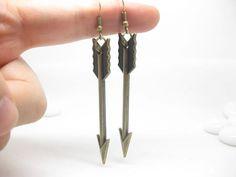 SALE the hunger games arrow earrings retro BRASS by dollarjewelry, $0.20