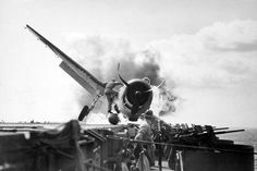 The crash landing of an F6F-3 on the USS Enterprise as she was on her way to the Gilbert Islands, 1943. Luckily the pilot escaped unharmed.