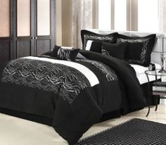 This lavish comforter set comes with everything you need to do a complete makeover for your master or guest suite.  Detail Embroidery highlight the true essence of look you are trying to achieve in elegant home decor.  #ChicHome #LuxBed  #Black #Zebra  #Comforters   #Bedding