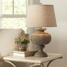 Birch Lane Marlena Table Lamp - The rounded grey curves of this natural resin base lend an air of warmth and approachable elegance to this versatile style. loving this junky lamp! Farmhouse Table Lamps, Farmhouse Style Table, Farmhouse Ideas, New Living Room, Living Room Decor, Bedroom Decor, Master Bedroom, Chandelier Design, Wooden Lamp